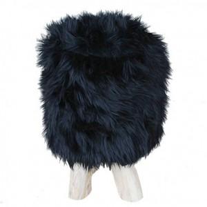 Tabouret en fausse fourrure noire rond  et pied en bois de teck - design cosy bohème chalet chic - FUR