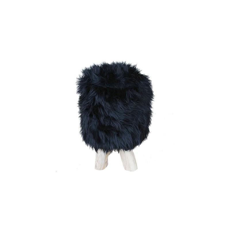 Tabouret En Fausse Fourrure Noire Fur
