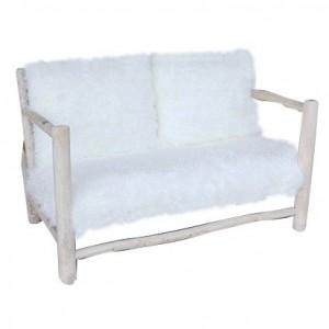 canapé / sofa / banquette 2 places en fausse fourrure et bois de teck - style cosy scandinave naturel - DOUDOU