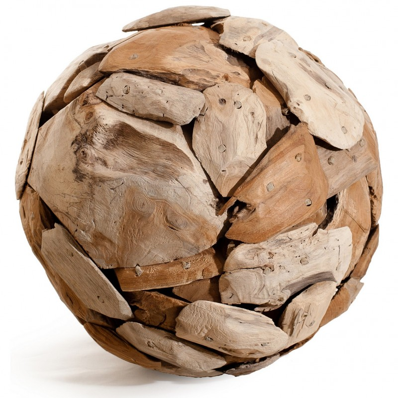 Boule Sculpture 40 cm en teck recyclé - objet décoratif artisanal exotique  - BALL