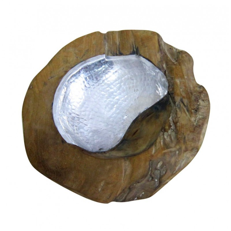 Bol en racine de teck et design aluminium - objet décoratif style exotique,cosy naturel, bohème chic - WHITE TEAK BOWL