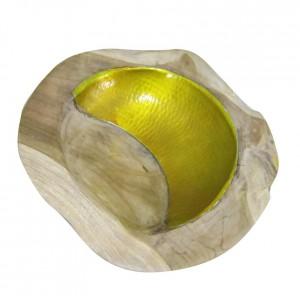 Bol en racine de teck et design aluminium - objet décoratif style exotique,cosy naturel, bohème chic - YELLOW TEAK BOWL