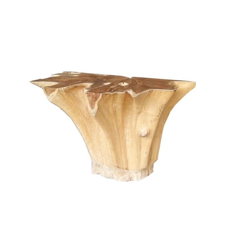 Console 120 cm en racine de teck -meuble style exotique,cosy naturel, chalet chic -THEKKU 02