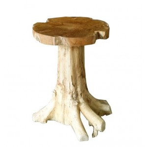 Table 55 cm en racine de teck -meuble style exotique,cosy naturel, chalet chic -TEAK CHAMPI