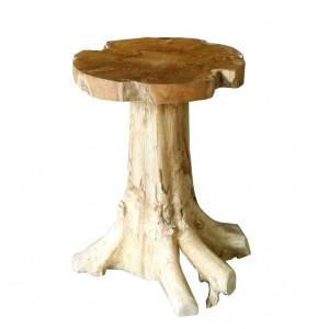 Table 55 cm en racine de teck -meuble style exotique,cosy naturel, chalet chic -TEAK CHAMPI