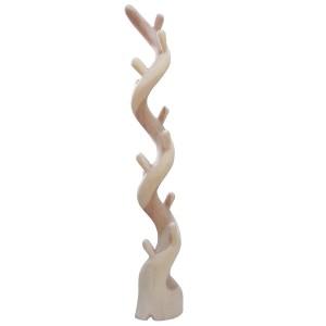 Portemanteau sculpture torsadée en bois exotique - design bohème chic & nature  - TWIST