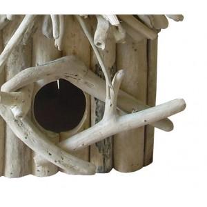 Nichoir maison à oiseaux en teck  - objet décoratif à poser à suspendre - design bohème chic & nature  - BIRDY 01