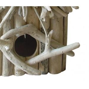 Nichoir maison à oiseaux en teck  - objet décoratif à poser à suspendre - design bohème chic & nature  - BIRDY 02