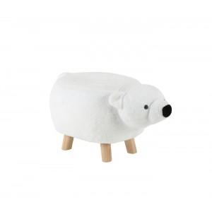 Pouf enfant design ours blanc tissu doux peluche et  pied bois - tabouret jouet forme animal - OURSON