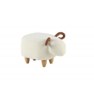 Pouf enfant design mouton blanc tissu doux et  pied bois - tabouret jouet forme animal - SHEEPY