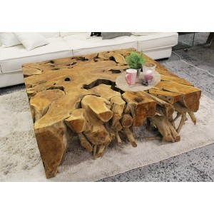 Table basse carré 100 cm en racine de teck - TEAK  01