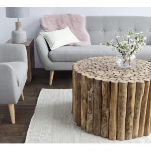 Table basse ronde 50 cm en teck - TABLE  STICK
