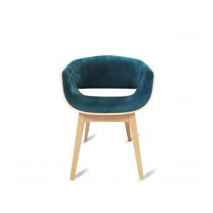 Fauteuil design bleu canard velours - SPOON