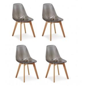 Lot 4 chaises - Style scandinave - Fumé transparente - OSLO