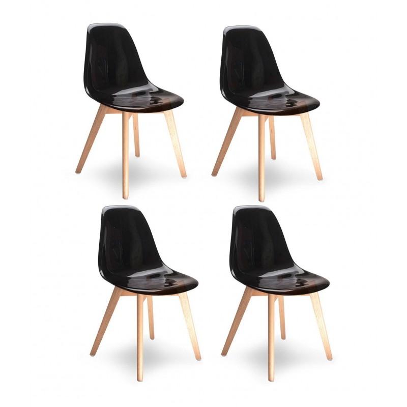 Lot 4 chaises - Style scandinave - noires transparentes - OSLO