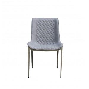 Chaises simili gris décor surpiqûres et piétement robuste en acier - Qualité & Confort - LOT DE 4 - JUNE