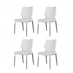 Chaises simili blanc piétement métal - confort ergonomique - Premium Collection - LOT DE 4 - MILK