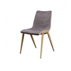 Chaises tissu velours taupe gris piétement métal - confort ergonomique - Premium Collection - LOT DE 4 - ASAMI taupe