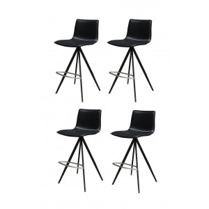 Tabourets de bar simili noir et  piétement métal - Premium Collection - LOT DE 4 - GINKO