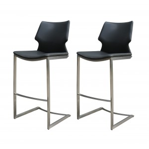 Chaises de bar simili noir et  piétement métal mat - Premium Collection - LOT DE 2 - TOTEM