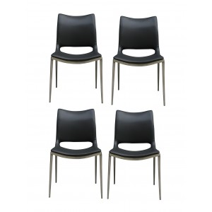 Chaises simili gris anthracite piétement en métal design moderne - lot de 4 - VITA