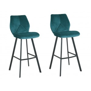 LOT 2 Tabourets de bar velours bleu - DIAM