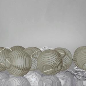 Guirlande lumineuse grise boules en papier 3,10 m