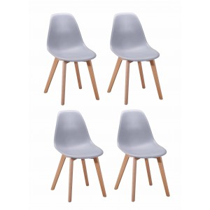 Lot 4 chaises design scandinave - Gris - DAWY