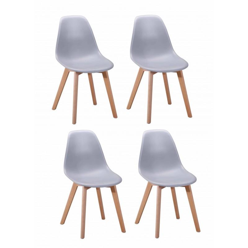 Lot 4 chaises design scandinave - Gris - DAWY