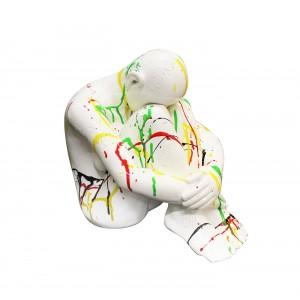 Sculpture de femme en repli laquée