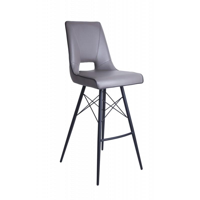 Tabouret de bar design moderne simili TAUPE - piétement design acier noir - chaise haute élégante et confortable - VOGUE