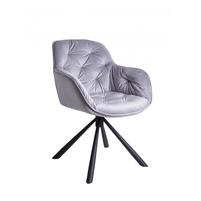 Chaise / fauteuil pivotant velours gris clair - piétement métal - design contemporain -STAR