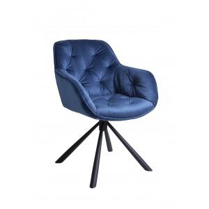 Chaise / fauteuil pivotant velours bleu - piétement métal - design contemporain -STAR