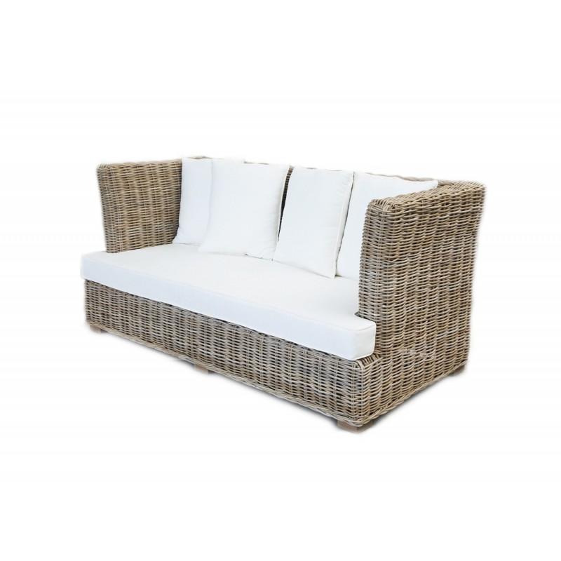 Canapé 3 places tressé en kubu naturel et coussins blancs - style osier rotin exotique classique chic - TAHITI