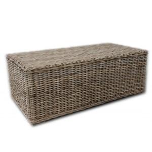 Table basse rectangulaire tressée en kubu naturel - style osier rotin exotique classique chic - HONOLULU
