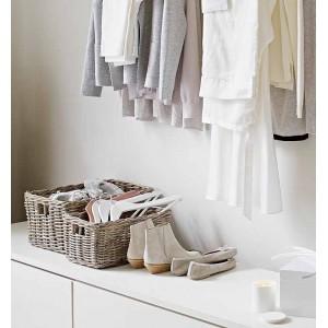 Panier rectangulaire en kubu tressé naturel  - rangement style campagne rustique bohème chic - PAROS 01
