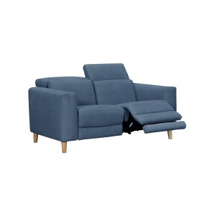 Canapé relaxation 2 places tissu BLEU motorisé - style  scandinave - Qualité Premium Relax - POLO
