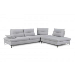 Canapé d'angle Droit Tissu Gris clair contemporain  - dossiers réglables -  Qualité Premium Confort & Design - SATURNE