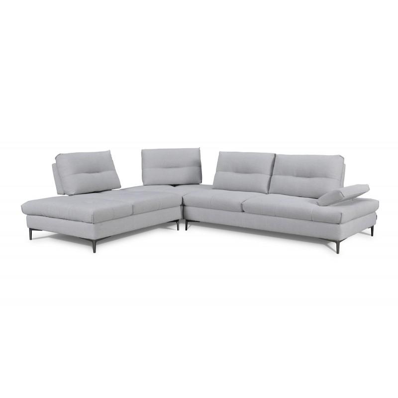 Canapé d'angle gauche Tissu Gris  clair contemporain  - dossiers réglables -  Qualité Premium Confort & Design - SATURNE