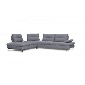 Canapé d'angle gauche Tissu Gris contemporain  - dossiers réglables -  Qualité Premium Confort & Design - SATURNE