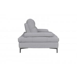 Canapé 2 places Tissu gris clair contemporain - dossiers réglables -  Qualité Premium Confort & Design - SATURNE