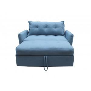 Canapé banquette 2 places convertible lit 1 personne en tissu bleu - style classique cosy  - NIAGARA