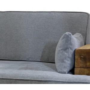 Canapé 3 places en pin recyclé et tissu gris - déco montagne rustique -  Collection CHALET