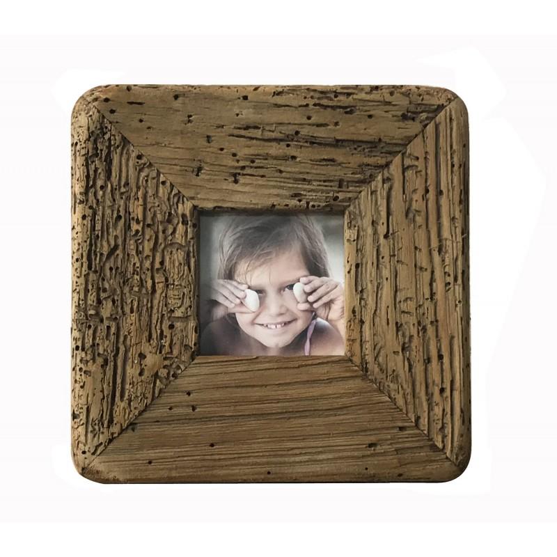 Cadre photo murale en pin recyclé - objet déco montagne rustique -  Collection CHALET
