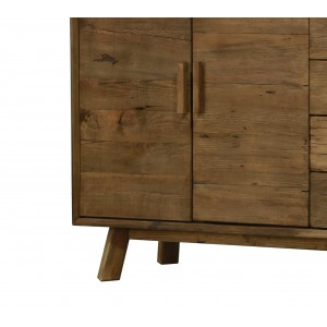Bahut buffet 4 portes et 4 tiroirs 200 cm en pin recyclé - meuble déco montagne rustique - Collection CHALET
