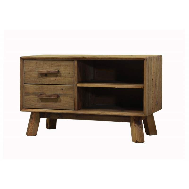 meuble TV 2 tiroirs en pin recyclé - style esprit montagne rustique - Collection CHALET