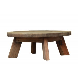 Table basse ronde 90 cm en pin recyclé - style esprit montagne rustique - Collection CHALET