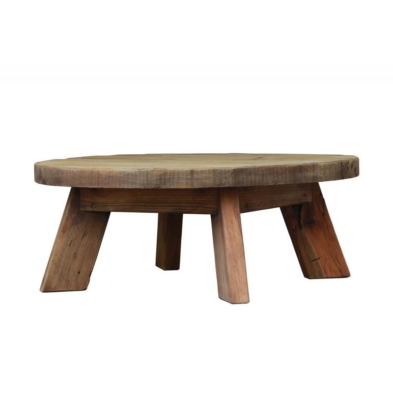 Table basse ronde 90 cm en pin recyclé - style esprit montagne rustique - Collection CHALET
