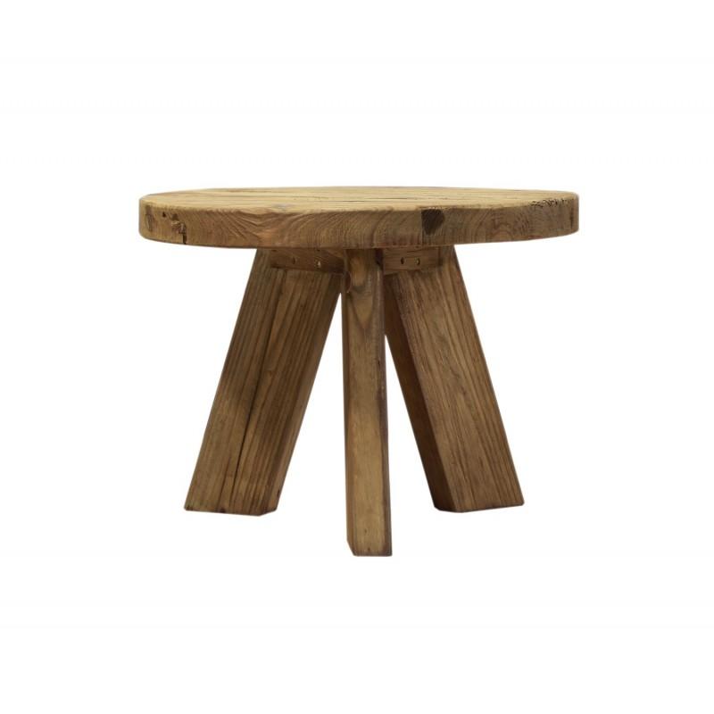 Table basse ronde 60 cm en pin recyclé - style esprit montagne rustique - Collection CHALET