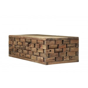 Table basse design 145 cm en pin recyclé - style esprit montagne rustique - Collection CHALET